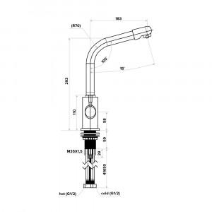 Смеситель для кухни 2 в 1 с краном для питьевой воды модель C126